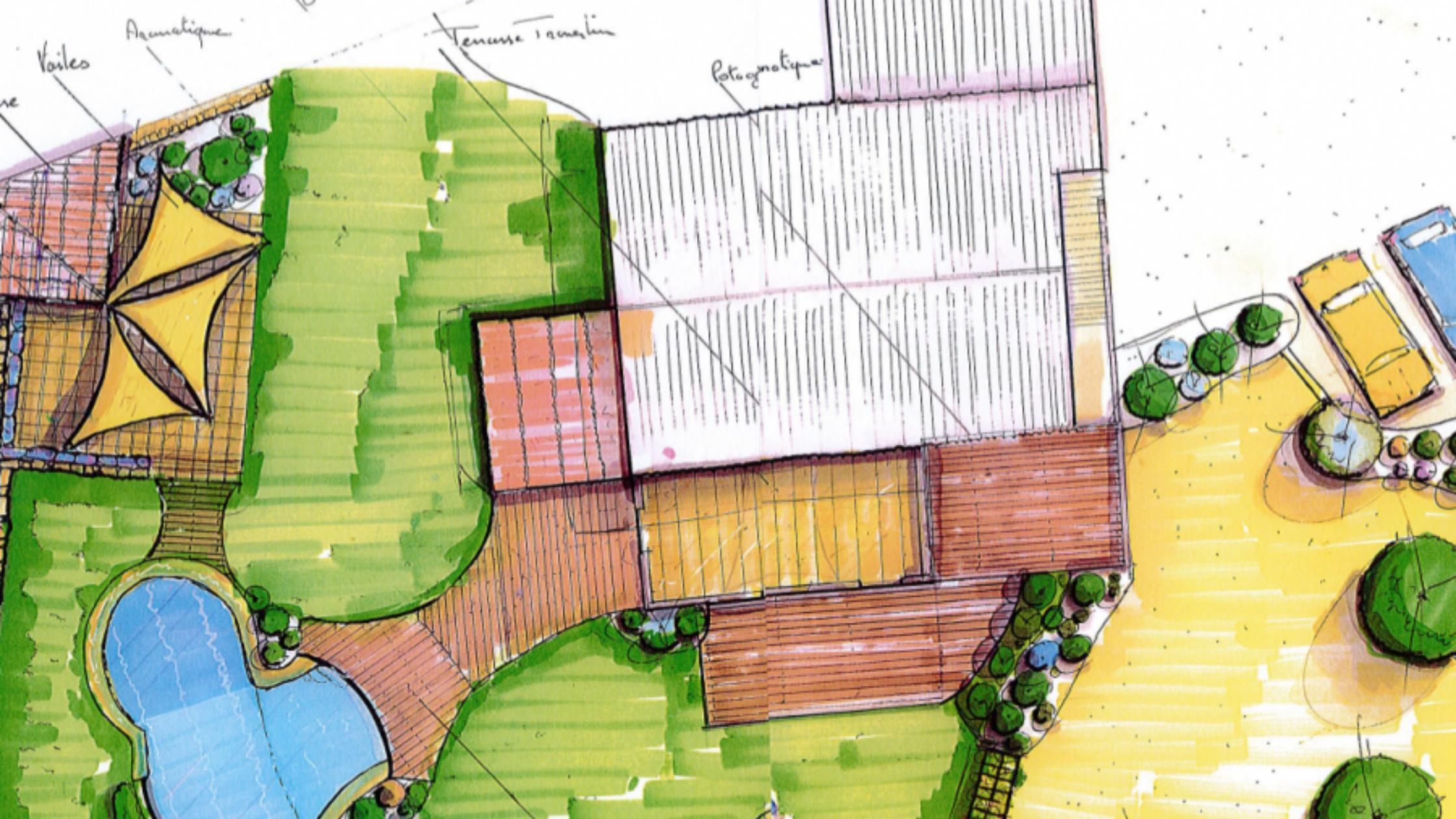 Dessin bureau d'étude création de jardin paysager - Cade Paysage - Var - Toulon - Brignoles